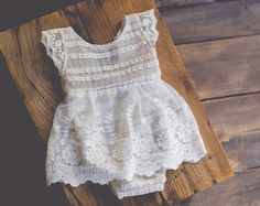 Delicate onesie dress made with stretchy high quality lace and vintage lace trim. Open back for a better fit. Only 1 additional will be made!