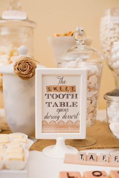 Shabby Chic Scrabble Inspired Wedding Dessert Table, love the idea of a candy table! Wedding Candy Table, Wedding Sweets, Diy Wedding Favors, Wedding Decorations, Wedding Ideas, Wedding Photos, Chic Wedding, Wedding Signs, Our Wedding