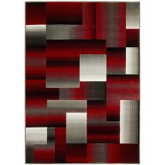 Wrought Studio Abstract Red/Grey Area Rug Rug Size: x