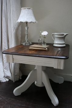 I found two similar pedestal, side tables at a garage sale for $8 each. They are actually identical except that one has around top and th...