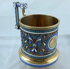Enameled Russian tea glass holder. Moscow 1898 Height: 9 cm