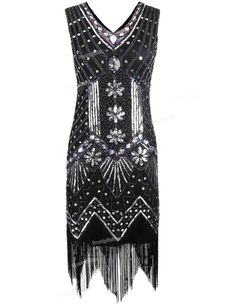 PrettyGuide Women 1920s V Neck Beaded Sequin Art Deco Gatsby Inspired Flapper Dress Great Gatsby Party Dress