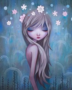Fine Art and You: Beautiful Whimsical Illustrations by Jeremiah Ketner Painting Of Girl, Painting & Drawing, Girl Paintings, Fantasy Paintings, Fantasy Kunst, Fantasy Art, Art Fantaisiste, Art Mignon, Illustration Art