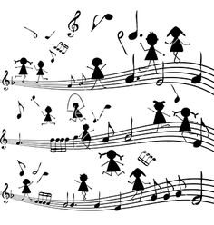 Music note with stylized kids silhouettes vector on VectorStock®