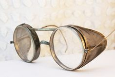 30s Metal Glasses Steel 1930's Round Eyeglasses Silver Safety Goggles Circle Frame Unisex 49/28 Size Optical Frame