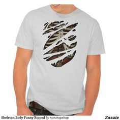 Engraçado de esqueleto do corpo rasgado tshirts