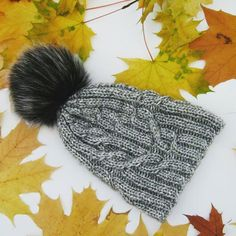 """Wome's winter hat """"Flocart"""" gray Stylish and original hat. Handmade, seamlessy knitted, blue with a bubo of natural dyed fur. Knitted Hats, Crochet Hats, Winter Hats, Fur, Gray, Stylish, Natural, Handmade, Knitting Hats"""