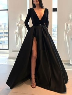 Product Sexy long-sleeved waist open slit maxi dress Brand Name Gracybee SKU Gender Women Style Elegant/Sexy/Fashion Type Evening Dresses Material Polyester Decoration Pure Color Please Note:All dimensions are measured manually with a deviation of 1 to Prom Dress Black, Prom Dresses Long With Sleeves, Long Prom Gowns, Black Evening Dresses, Maxi Dress With Slit, Elegant Dresses, Sexy Dresses, Dress Long, Dresses With Slits