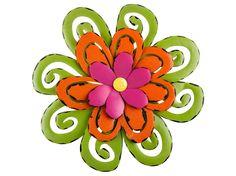 Green, Orange & Pink Metal Flower