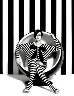 1960's fashion revisited by manuel outmuro/ Love this pic, her hair and I'm so into stripes ;)