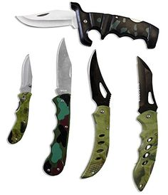 5 PIECE KNIFE SET IN CAMOUFLAGE -- You can get more details by clicking on the image. Fixed Blade Hunting Knives, Knife Sets, Shotgun, Camouflage, Woodland, The Unit, Hiking Equipment, Things To Sell, Weapons