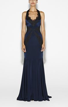 gorgeous Kris Crepe Gown in dark blue and black lace