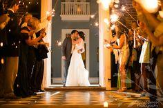 Anna and Spencer Photography, Atlanta Documentary Wedding Photographers. Sparkler Wedding Exit at Farmington Country Club.