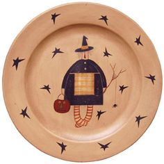 Primitive Witch Wooden Plate - This wooden plate is painted with black primitive stars and a cute folk art witch with a little spider buddy.  sc 1 st  Pinterest & Primitive Happy Fall Yu0027all Decorative Plate Pumpkin | Happy fall ...