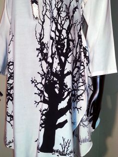 Tunics - White - Black Tree Print