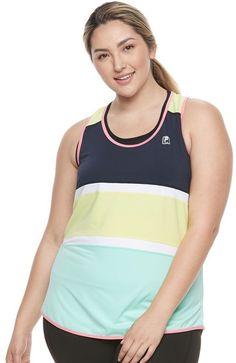 5d4ed4f85e4 Plus Size FILA SPORT® Stripe Block Tank Top Fitness Goals
