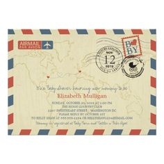 Washington DC / France Airmail | Baby Shower Custom Invitations
