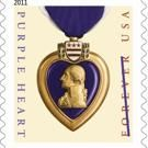 Purple Heart postage stamp in tribute