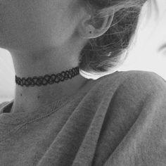 aesthetic, black and white, choker, girl, grunge, hair, soft ...