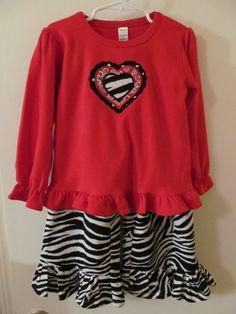 Zebra Print Valentine Ruffled Pants Set by vduff on Etsy, $45.00