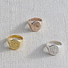 rose gold monogram ring