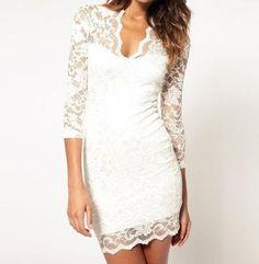 BRAND NEW White Lace Wedding Short Reception Dress w/ Sleeves Stretch Medium   eBay
