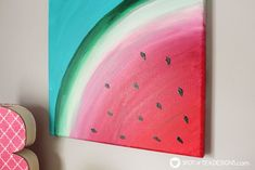 Sweet Summer Watermelon Canvas Art Sweet Summer Watermelon Canvas Art Watermelon canvas art featuring Decoart inc Americana Premium Paints spotofteadesigns Simple Canvas Paintings, Easy Canvas Art, Small Canvas Art, Easy Canvas Painting, Mini Canvas Art, Cute Paintings, Diy Painting, Summer Painting, Small Paintings