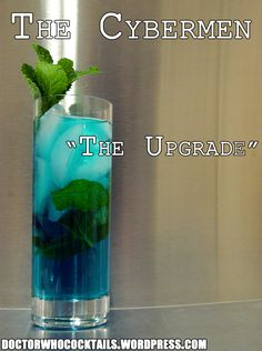 The Upgrade This upgraded mojito has just the electric shock you were looking for. Cool and refreshing, if you're not careful, it just might delete you. 4 to 5 mint sprigs ¾ oz Rose's Lime ½ oz aga. Doctor Who Party, Doctor Who Wedding, Cocktail And Mocktail, Cocktail Recipes, Summer Cocktails, Drink Recipes, Healthy Recipes, Doctor Who Cocktails, Dr Who Cake