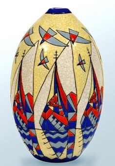 Art Deco cubist stylized sailboats and seagulls ovoid vase – Charles Catteau, 1930