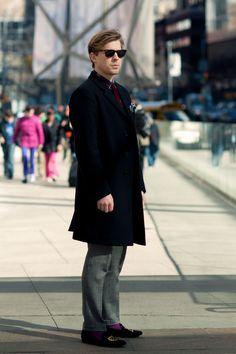 Carl Gustaf, slippers and purple socks