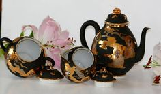 Items similar to Antique japanese eggshell porcelain Lidded Teapot and lidded sugar bowl and milk jug_Tea Ritual Kutani Ware? Matt Black & Gold Circa 1920 on Etsy Rituals Set, Eggshell, Milk Jug, Sugar Bowl, Teapot, Black Gold, Porcelain, Japanese, Antiques