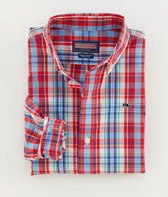 Boys' Sport Shirts: Fog Cove Plaid Whale Shirt For Little Boys' - Vineyard Vines