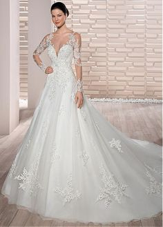 Charming Tulle Sheer Scoop Neckline A-Line Wedding Dress With Beaded Lace Appliques