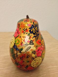 Vintage ornately hand painted pear flowers by HoofheartedCreations