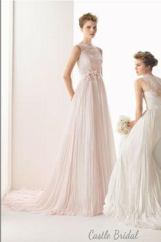 A Line Illusion Lace Bodice And Chiffon Beach Bridal Gown 2014 New Wedding Dress