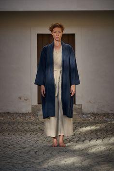 Naked & Famous Denim Kimono Overcoat Linen/Cotton Canvas Navy Cotton Linen, Cotton Canvas, Soft Hands, Woven Fabric, Naked, Kimono, Normcore, Denim, Coat