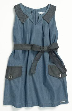 LITTLE MARC JACOBS Sleeveless Chambray Dress (Little Girls & Big Girls) | Nordstrom