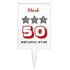 50 Birthday Gift or ANY AGE Striped Stars V5 Cake Topper   To see more customizable striped Jaclinart gift items:   http://www.zazzle.com/jaclinart+striped+gifts?st=date_created&ps=120  #stripes #striped #pattern #jaclinart #design #create