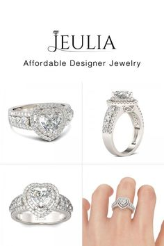 Double Halo Heart Cut Created White Sapphire Engagement Ring - Jeulia Jewelry