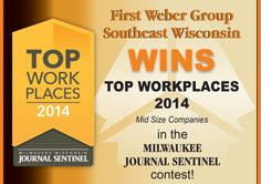 """LOOKING FOR A GREAT CAREER?  Consider #REAL ESTATE!   """"We are thrilled to announce that once again we have been chosen as a 2014 recipient for the prestigious """"Top Work Places"""" given by the Milwaukee Journal Sentinel under the category """"Midsize Companies"""".  We realize that we receive this award because of our dedicated Sales Executives and Support Staff, who are fully committed to making this company the best it can be!"""""""