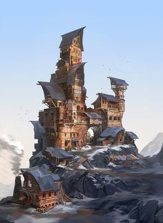Creative Illustration, Painting, Drawcrowd, Fantasy, and Mountain image ideas & inspiration on Designspiration Fantasy City, 3d Fantasy, Fantasy Places, Fantasy Setting, Fantasy Kunst, Fantasy Landscape, Fantasy World, Landscape Art, Fantasy Village