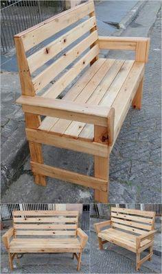 20 Brilliant DIY Pallet Furniture Design Ideas to Inspire You - diy pallet creations Diy Pallet Sofa, Wooden Pallet Projects, Diy Pallet Furniture, Woodworking Projects Diy, Woodworking Bench, Wood Furniture, Pallet Ideas, Wood Ideas, Furniture Plans