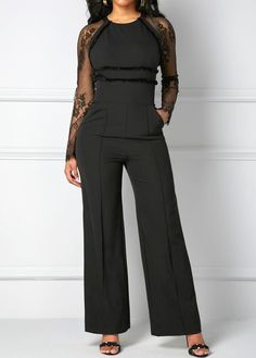 Lace Panel Zipper Back Black Pocket Jumpsuit Sexy Outfits, Chic Outfits, Fall Outfits, Fashion Outfits, Womens Fashion, Estilo Meghan Markle, Grad Dresses, Jumpsuits For Women, Clothes For Women