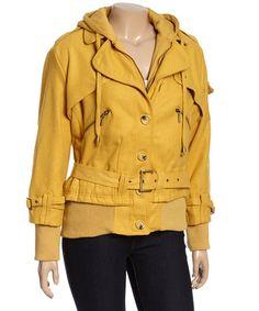 Look at this #zulilyfind! Mustard Belted Zipper Coat - Plus #zulilyfinds