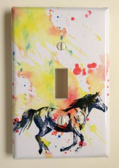 Running Horse Decorative Light Switch Cover Plate by idillard, $10.00
