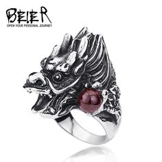 Gothic Cool Men's Dragon Ring Stainless Steel Unique Fashion Animal Ring For Man BR8-118 #Affiliate