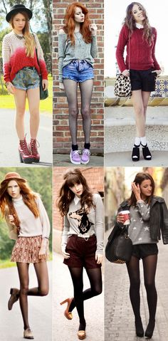 Tights and shorts. I don't like the top 3 looks.but I kinda wanna try the bottom styles? Urban Chic Fashion, Daily Fashion, Girl Fashion, Womens Fashion, Sweater And Shorts, Textiles, Up Girl, Swagg, Pattern Fashion