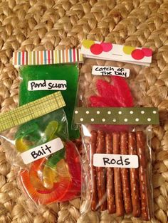 Gone Fishing Birthday small treat bags. pond scum, catch of the day, bait, and… 1st Boy Birthday, Boy Birthday Parties, Birthday Ideas, 4 Year Old Boy Birthday, Birthday Treat Bags, Birthday Banners, Birthday Crafts, Themed Parties, Birthday Invitations