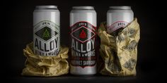 Wine bottles, wine boxes, and now: wine cans. Alloy Wine Works takes a  #yeswecan attitude to wine, so Makers and Allies developed the branding,  label and package design, and identity for this refreshing line of wines.