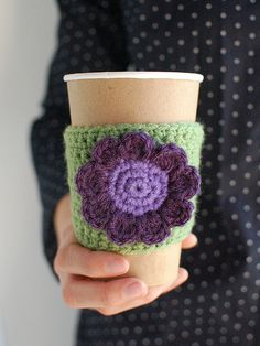 Coffee cozy, Green  with purple flower by The Cozy Project $16 on Etsy